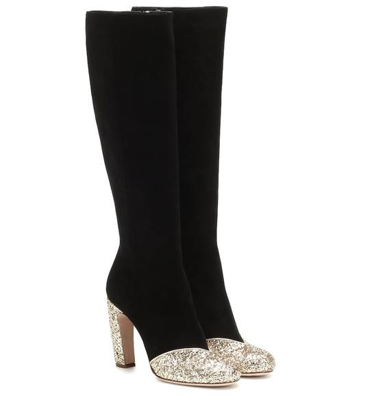 Miu Miu Glitter leather boots in black
