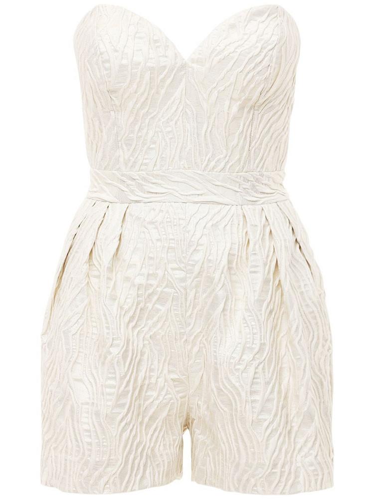 ROTATE Lana Sweetheart Jacquard Playsuit in white