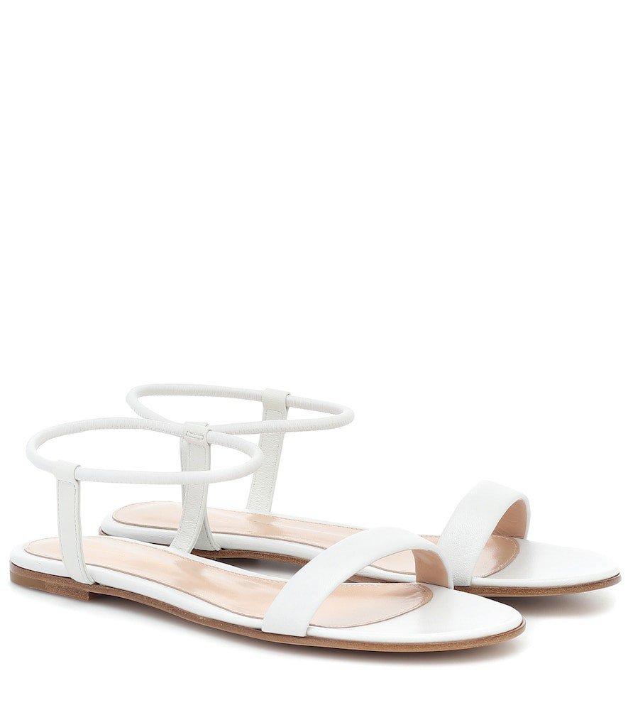 Gianvito Rossi Nikki leather sandals in white