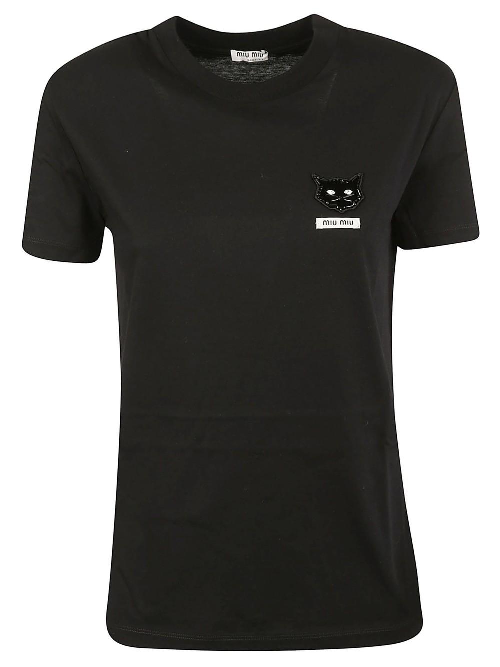 Miu Miu Cat Embellished T-shirt in black