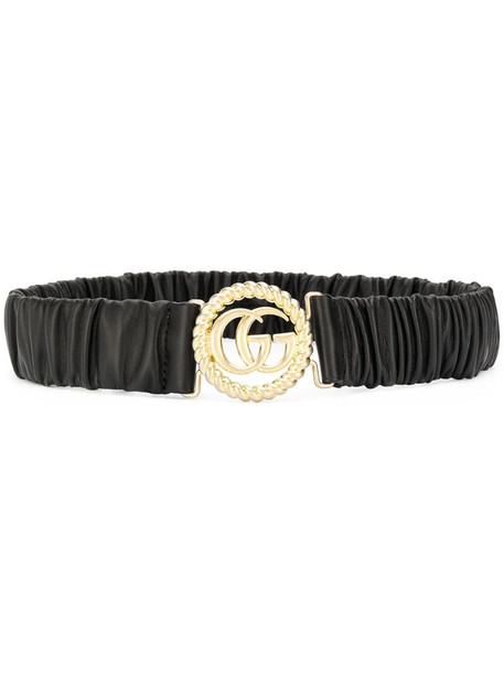 Gucci ruched leather logo belt in black