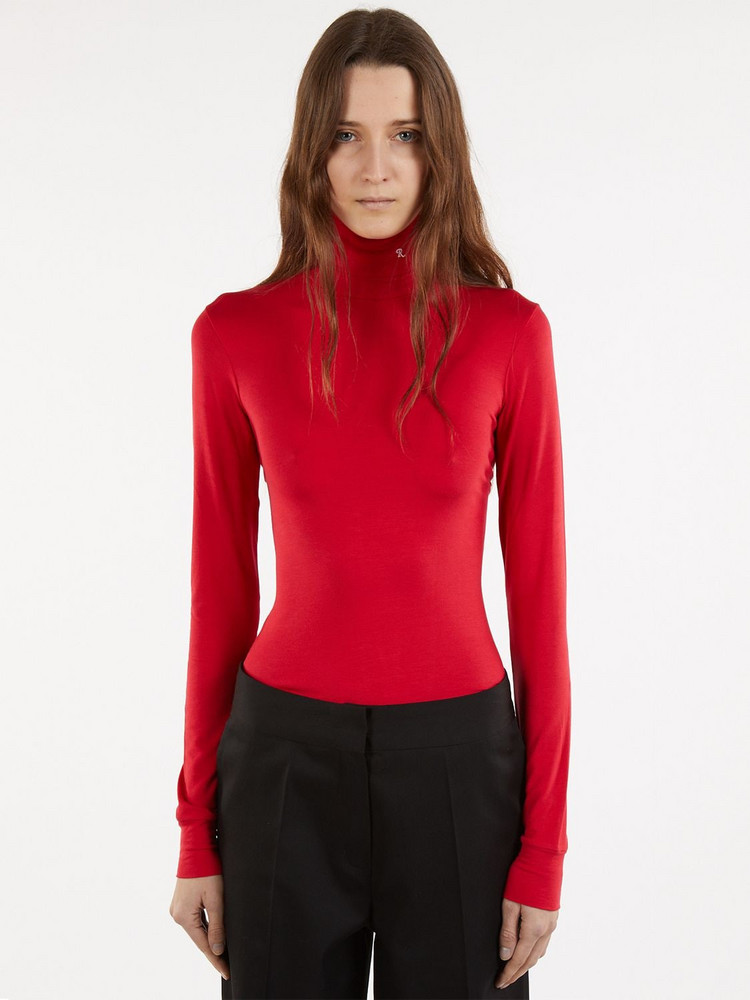 RAF SIMONS Jersey Turtleneck Top in red