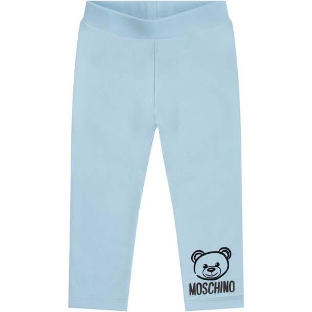 Moschino Light Blue Babykids Sweatpant With Black Iconic Teddy Bear