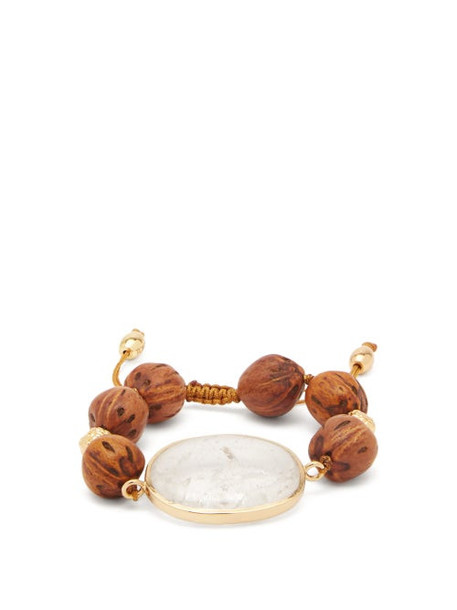 Tohum - Theia Crystal, Wood & 24kt Gold-plated Bracelet - Womens - Brown