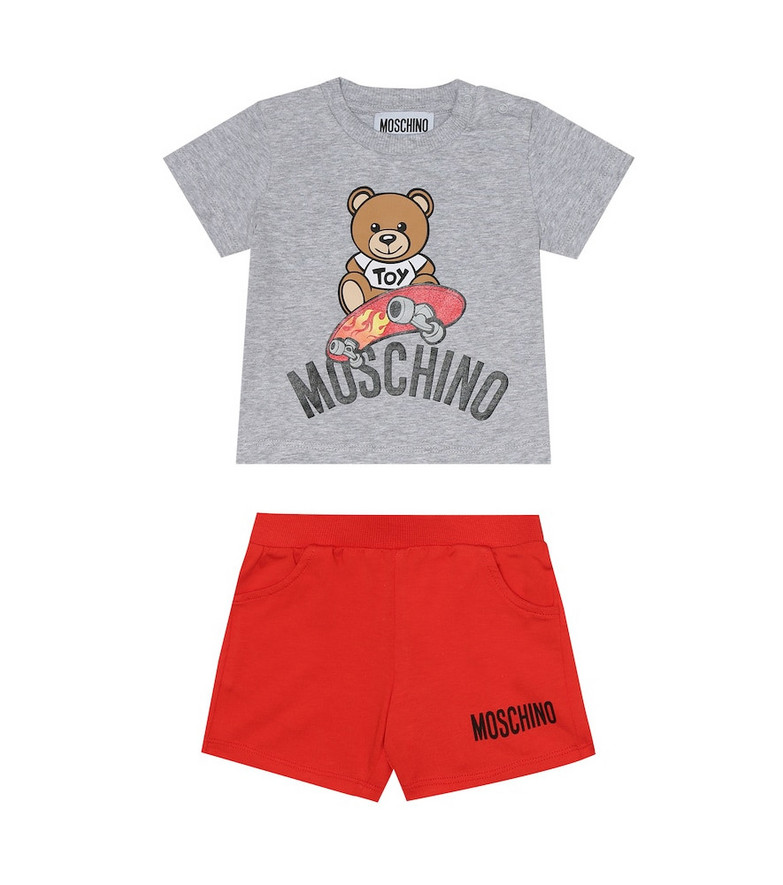 Moschino Kids Baby cotton shirt and shorts set