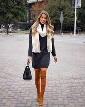 sweater,turtleneck dress,over the knee boots,brown boots,heel boots,black bag,scarf,shoes,knitted sweater,handbag