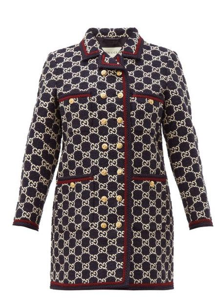 Gucci - Gg Monogram Tweed Single Breasted Coat - Womens - Navy Multi