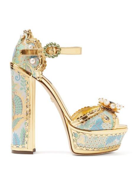 Dolce & Gabbana - Keira Jacquard Brocade Platform Sandals - Womens - Gold Multi