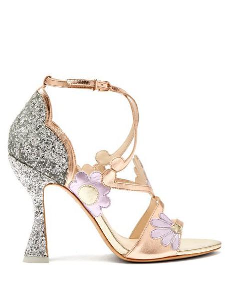 Sophia Webster - Frida Floral Embellished Metallic Leather Sandals - Womens - Multi