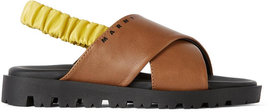 Marni Kids Brown & Yellow Slingback Sandals in beige