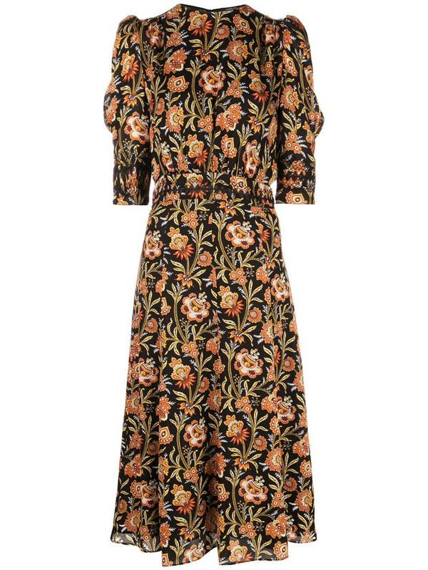Derek Lam floral print puff sleeve midi dress in black
