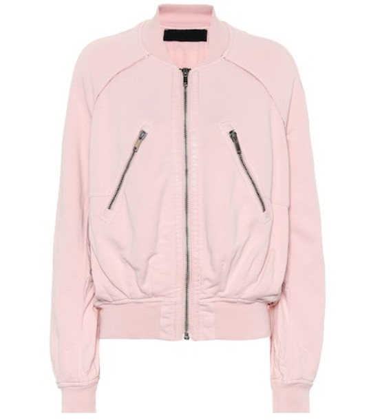 Haider Ackermann Cotton jersey bomber jacket in pink
