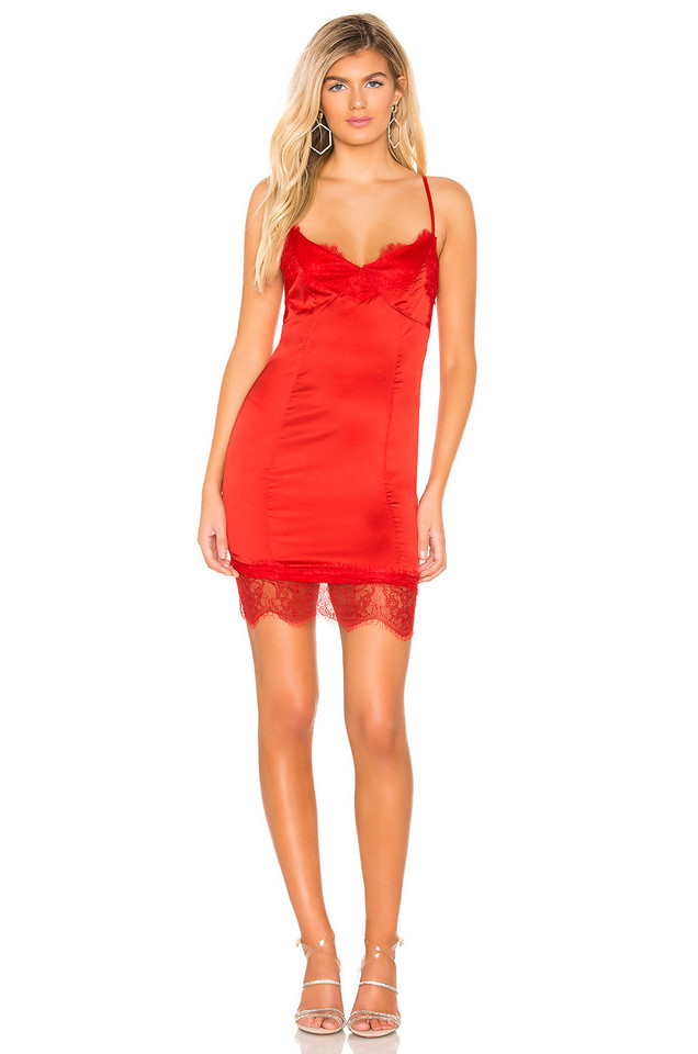 by the way. Em Satin Midi Dress in red