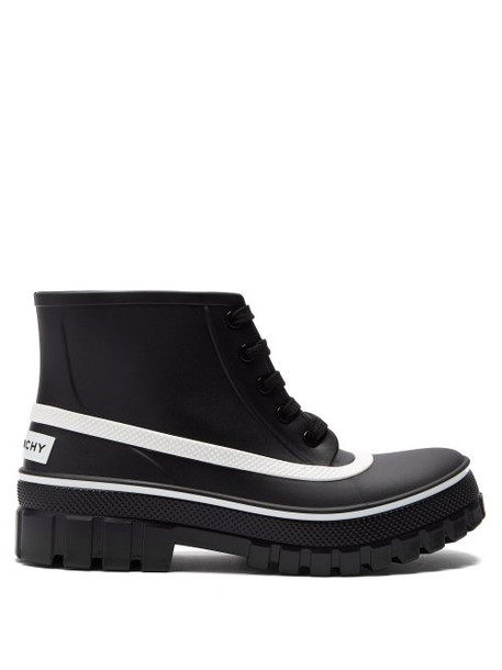 Givenchy - Glaston Lace Up Rubber Rain Boots - Womens - Black