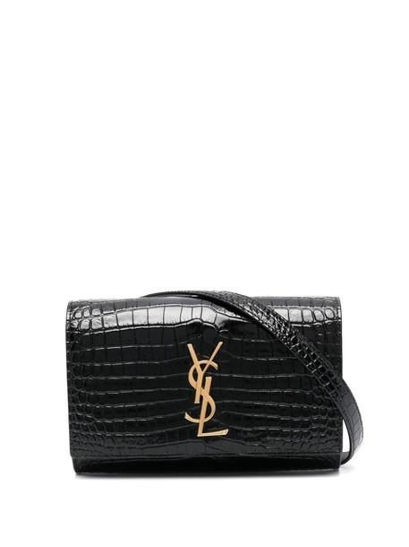 Saint Laurent crocodile-effect logo-plaque belt bag - Black