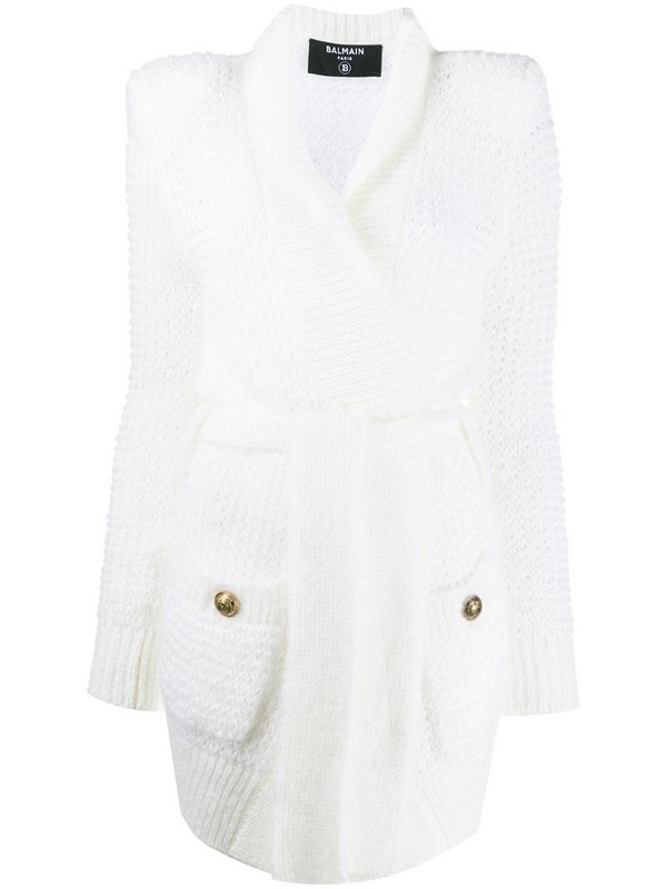 Balmain front tie long-length cardigan in white