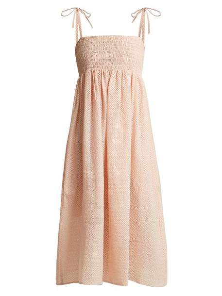 Marysia - Broderie Anglaise Cotton Midi Dress - Womens - Pink