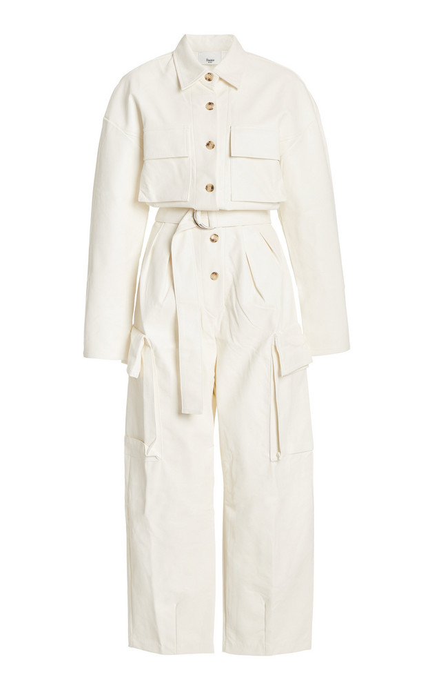 The Frankie Shop Linda Oversized Vegan Leather Jumpsuit in white
