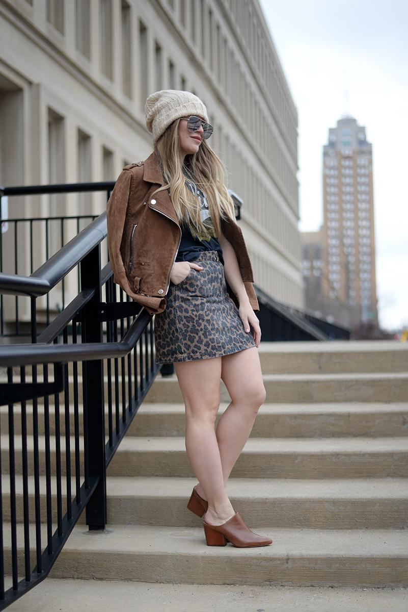 blonde bedhead blogger shoes sweater coat skirt sunglasses t-shirt jacket hat bag mules suede jacket brown jacket beanie