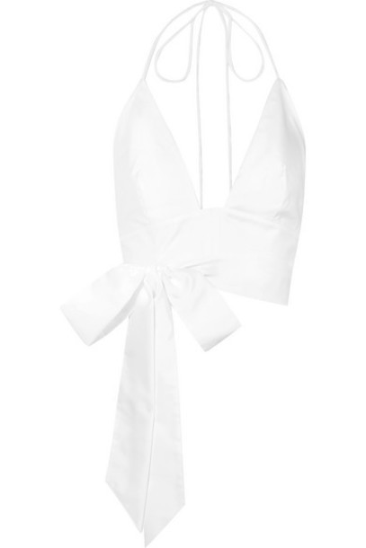 Kalita - Plato Cropped Cotton-poplin Halterneck Top - White