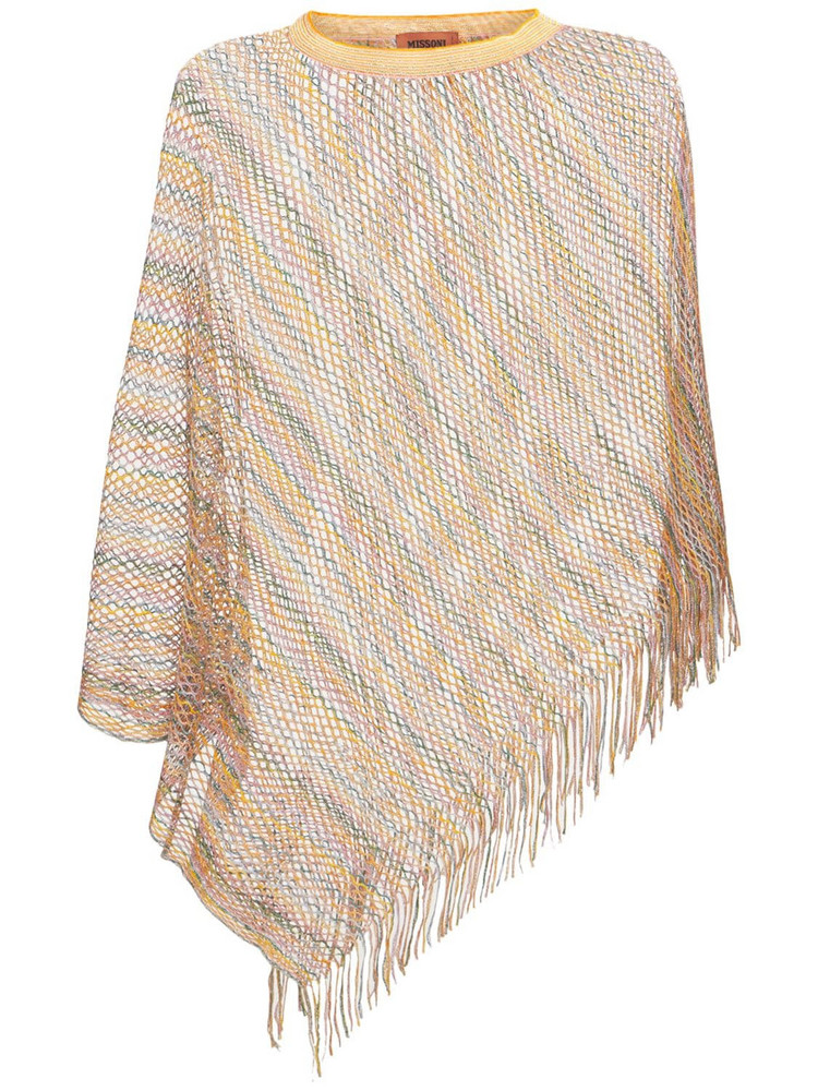 MISSONI See Through Lurex Poncho W/fringes in multi