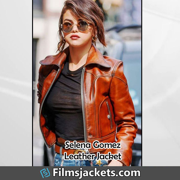 coat street  wear selena gomez leather jacket jacket fashion style outfit womens fashion women's outfit womenswear