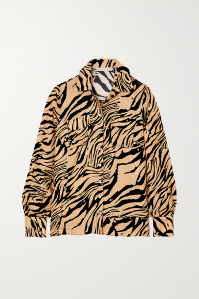 USISI SISTER - Jacquetta Tiger-print Crepe Shirt - Mustard