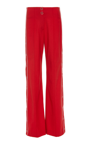 Jonathan Simkhai Ring-Snap Side Slit Wool-Crepe Wide-Leg Pants Size: 4 in red