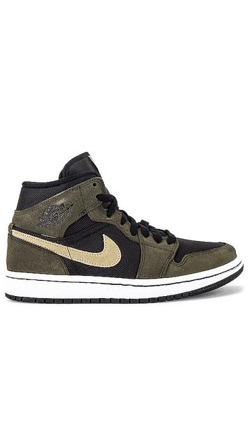 Jordan AJ 1 Mid Sneaker in Black,Olive