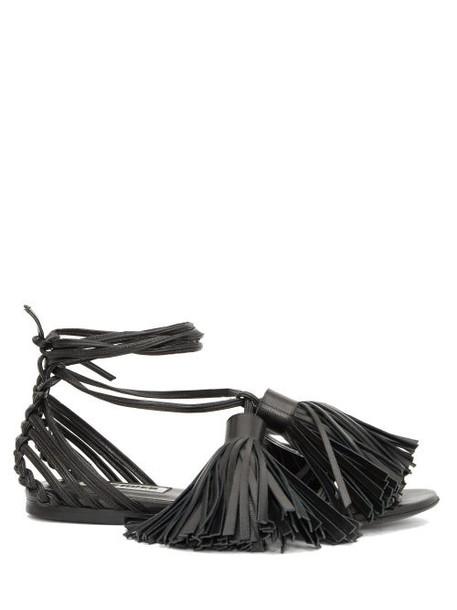 Jil Sander - Tasselled Wrap-around Leather Sandals - Womens - Black
