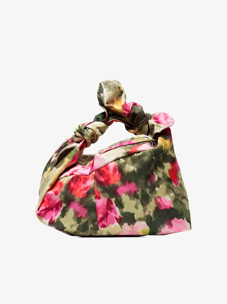 Simone Rocha Green and pink floral baby wrap bag