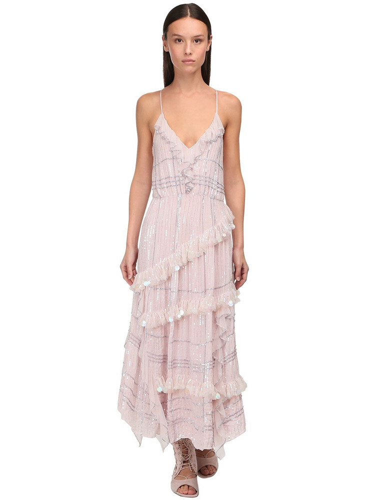 TEMPERLEY LONDON Sequined Midi Dress in pink