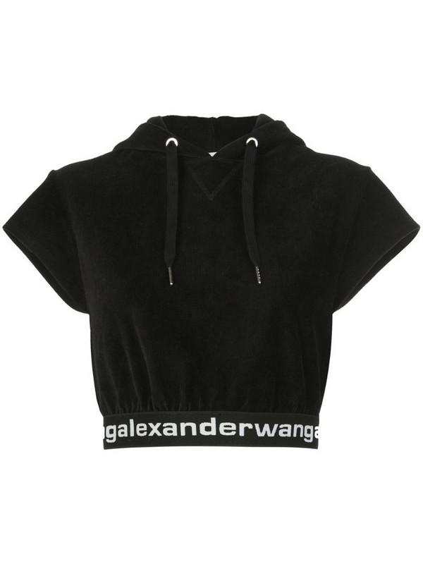 T By Alexander Wang hooded crop top in black