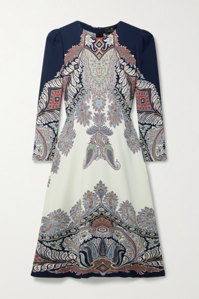 Etro - Paisley-print Crepe Dress - Navy