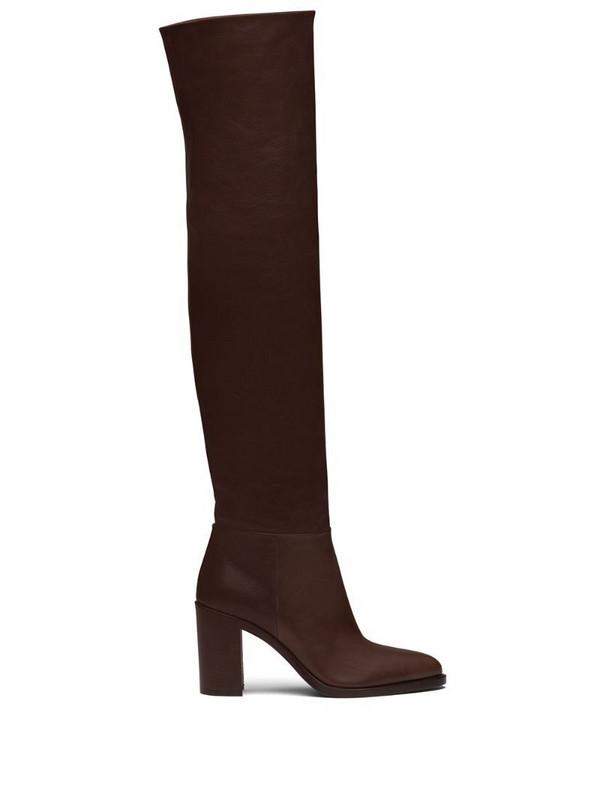 Prada knee-length mid-heeled boots in brown
