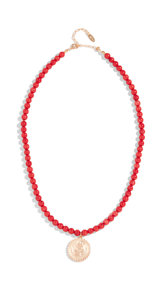 Maison Irem Beaded Coin Necklace in coral
