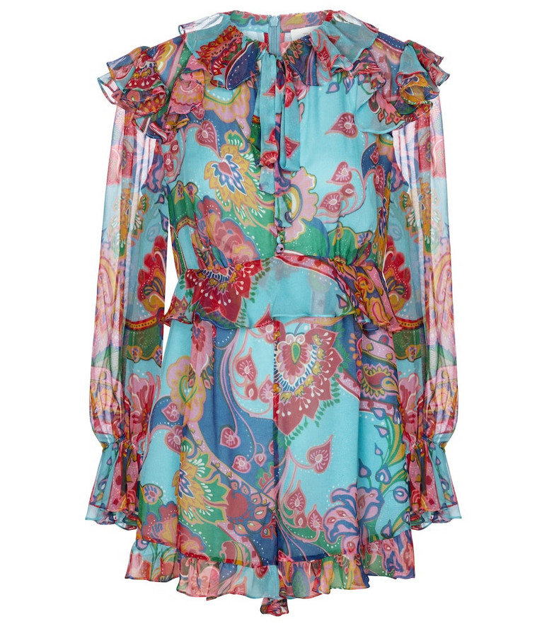 Zimmermann Lovestruck paisley silk georgette playsuit in blue