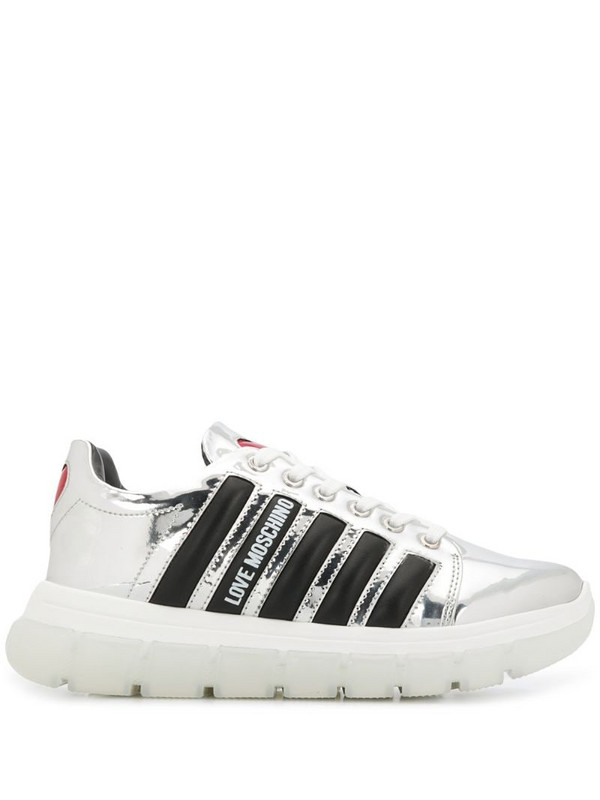 Love Moschino stripe-side low-top trainers in silver