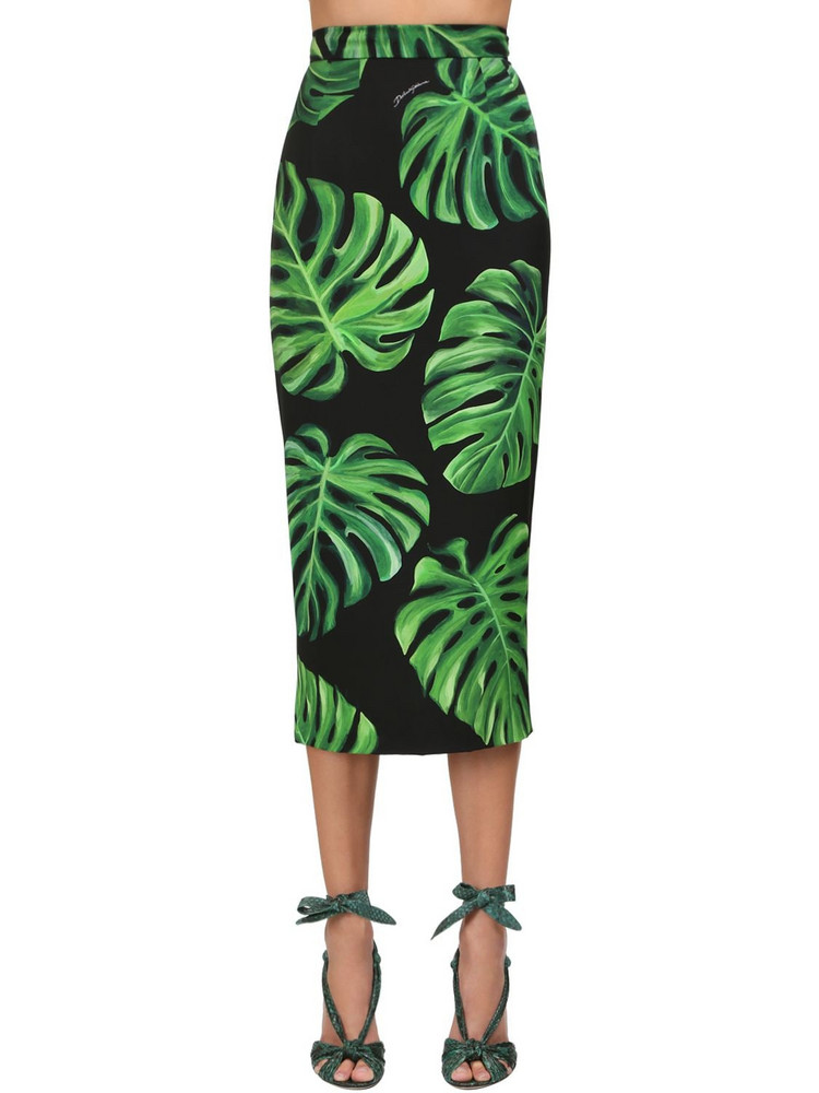 DOLCE & GABBANA Palms Silk Charmeuse Pencil Midi Skirt in black / green