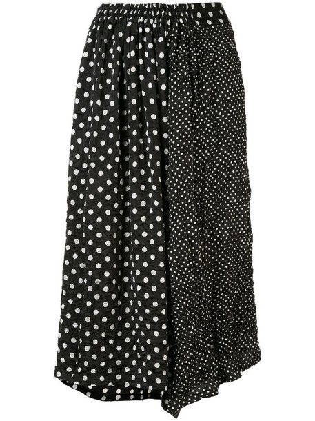 Y's polka dot print midi skirt in black