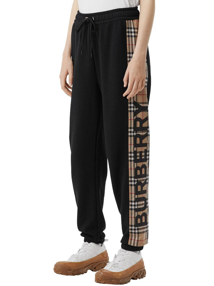 BURBERRY Jersey Sweatpants W/ Checked Side Bands in black