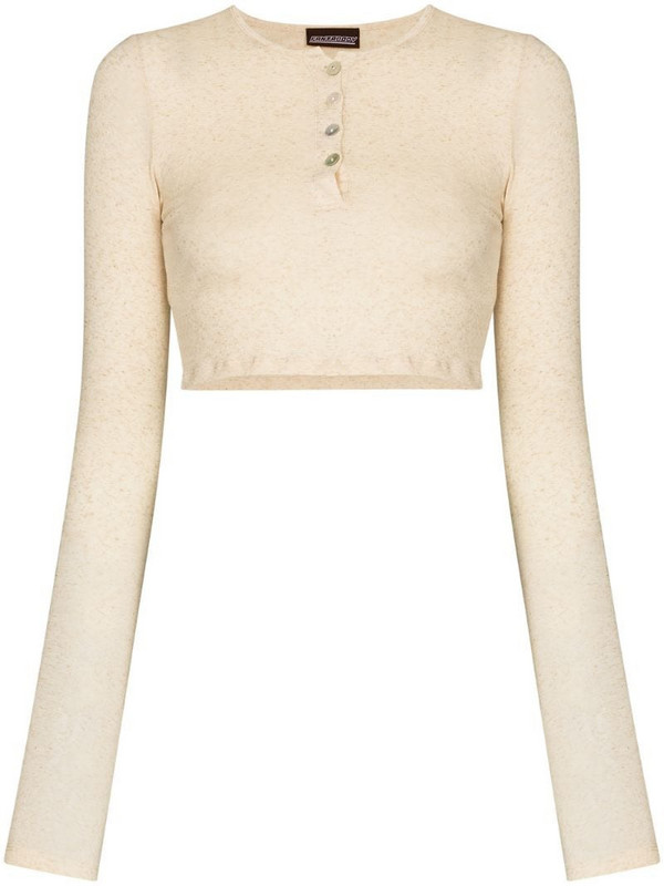 Fantabody cropped button placket top in neutrals