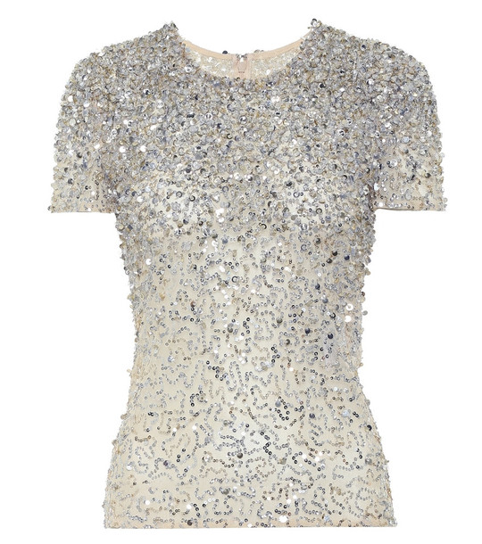 Valentino Embellished cotton-blend top in white
