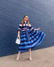 dress,striped dress,midi dress,blue dress,long dress,sandals,transparent  bag,white sunglasses