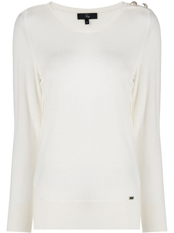 Fay fine knit jumper with embossed button detail in white