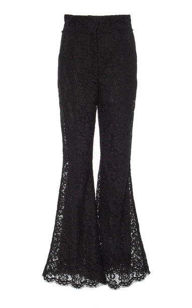 Dolce & Gabbana Flared High-Rise Lace Trousers in black