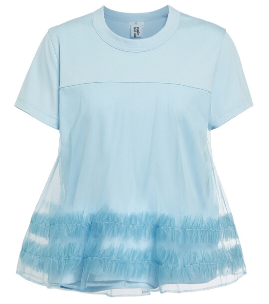 Noir Kei Ninomiya Tulle-trimmed cotton T-shirt in blue