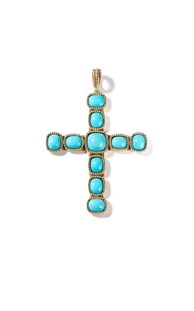 Windsor Jewelers Vintage 18K Yellow Gold & Turquoise Cross Pendant in blue