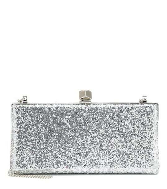 Jimmy Choo Celeste glitter clutch in silver