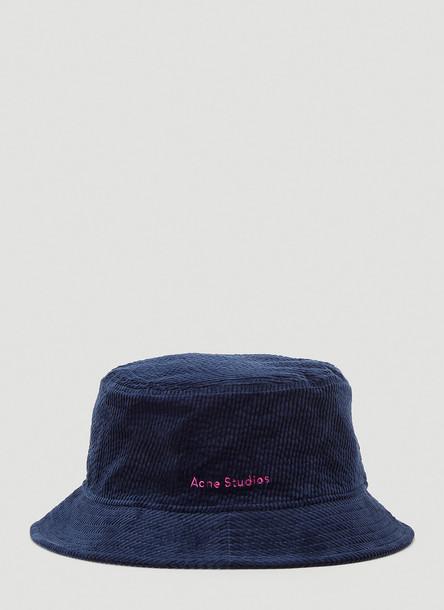 Acne Studios Corduroy Bucket Hat in Blue size One Size